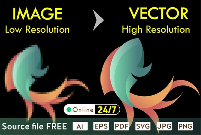 Vector tracing, redraw, recreate, raster your logo, image in 1h