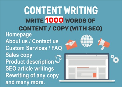 Write 1,000 words of content/copy (with SEO)
