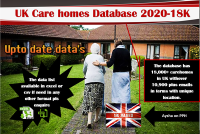 Provide UK care home database 2020 - 18K withover 10K emails