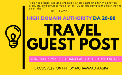 Write and publish guest post on high da travel, outdoor blog