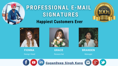 Design professional clickable email signature for All E-mails