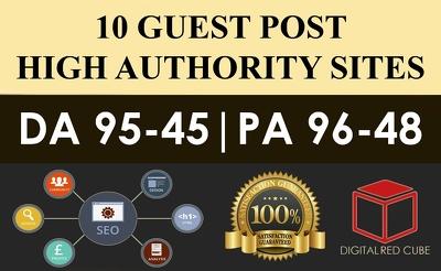 Publish 10 X High Authority Guest Post [DA 50-93][Sites Lists Up