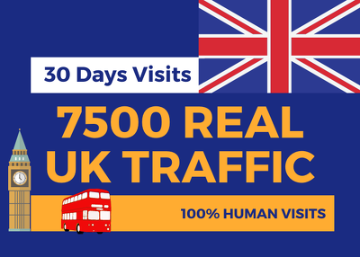 Send 7500 Real UNITED KINGDOM Website traffic