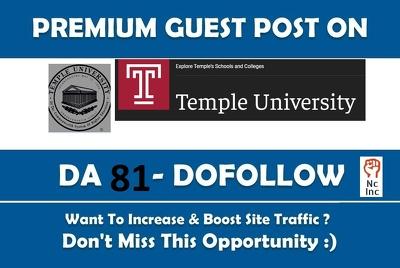 PREMIUM EDU guest post on Temple University - temple edu - DA 81