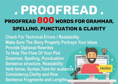 Proofread 1000 words for grammar,spelling, punctuation & clarity