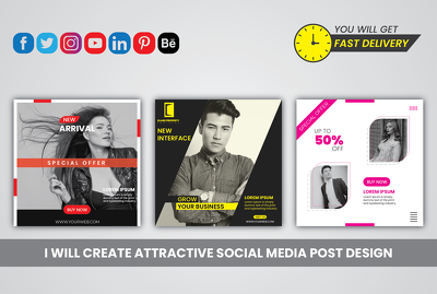 Design 10 graphic social media posts, cover or poster design