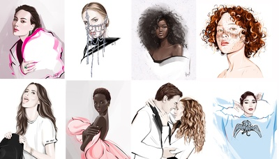 Draw realistic  fashion-style  portrait of you