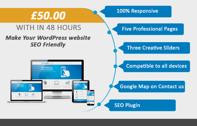 Design a fully responsive  WordPress 5 pages website for you