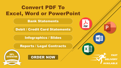 Convert 10 pages of Editable PDF to Excel, Word, PowerPoint