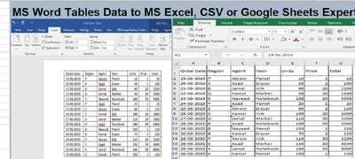 Convert tables in ms word to excel and google sheets