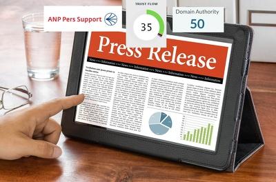 Write and publish press release on Dutch perssupport.nl DA50
