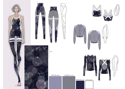 Draw a fashion look sketch in colour including technical flats