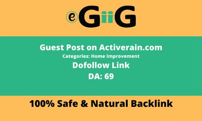 Publish Guest Post on Activerain DA 69 Home Improvement Blog