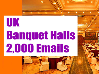 UK Banquet Halls Email list, Email database, 2K Email Addresses