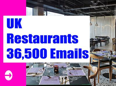 UK Restaurants Email list, Email Database, 36K Email Addresses
