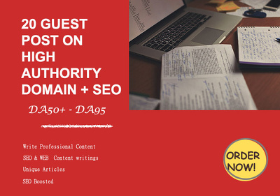 Give you 20 guest posts from DA 60 to 90 plus seo