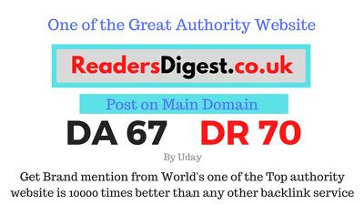 Guest post on website Readersdigest.co.uk, readersdigest DA60