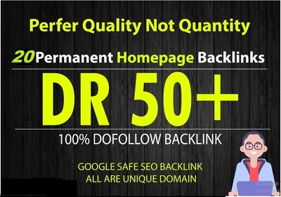 20 Permanent DR50+ Homepage PBN Dofollow Backlinks for $10