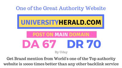 Guest post on Universityherald.com, universityherald DA67 DR70