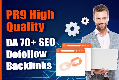 create PR9 High Quality DA 70+ SEO Do Follow Backlinks
