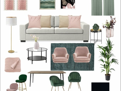 Do Mood Board concept and Shopping list for one room