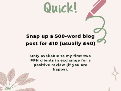 Write one 500-word blog for my first two PPH clients for £10