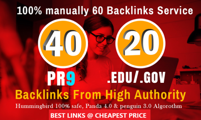 40 PR9 + 20 EDU/GOV Safe SEO High Authority Backlinks