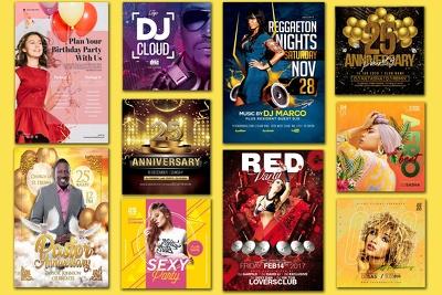 Design dj, music, party, birthday, club or an anniversary flye