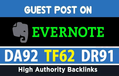 High Authority Guest Post on Evernote DA 92 with dofollow link