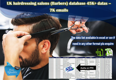 Database of UK hairdressing (Barbers) DB 45,000+ (7+emails)