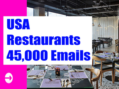 USA Restaurants Email list, Email Database, 45K Email Addresses