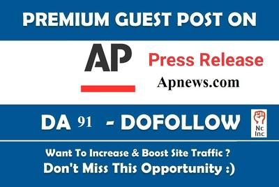 Publish Dofollow Guest Post On Apnews DA 91