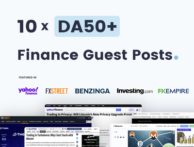 Write & Publish 10 x Finance Guest Posts On Quality DA50+ Blogs