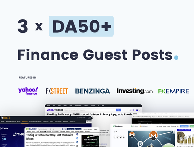 Write & Publish 3 x Finance Guest Posts On Quality DA50+ Blogs