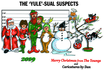 Design a custom Christmas card using up to 4 caricatures