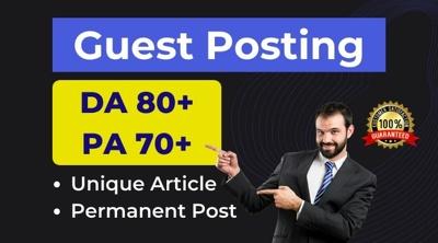 Quality Guest posting on High DA 80+ blog  on All Niche