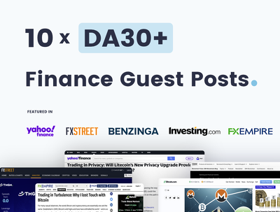 10 x Finance Guest Posts On Quality DA30+ Websites/Blogs