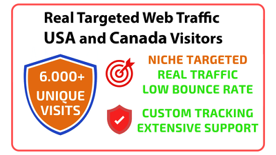 Bring real  targeted web traffic  USA and Canada visitors