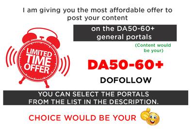 Post your content on 3 DA50-60+ general portals