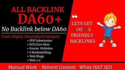 53+ premium DA60+ Backlinks to Rank high competition keyword