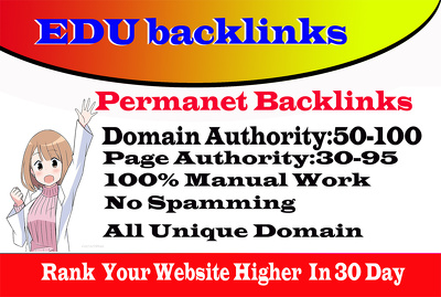Create 20 HQ SEO Edu Pr9 Link Building From DA70+ Domains