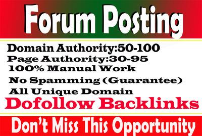 Provide 100 Forum Posting High DA sites On Spam Score 10 Below