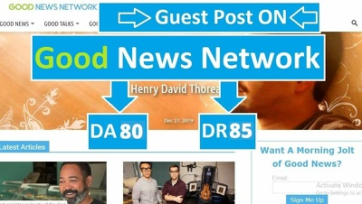 Publish Guest Post On Goodnewsnetwork, Goodnewsnetwork.org DA 80