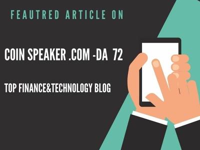 Publish featured article on Coin Speaker.Com-DA 72