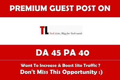 Write & Publish Guest Post on Tlists.com Premium Dofollow Link