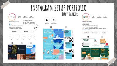 Setup Instagram page + 9 posts (bio, SEO, posting, hashtags)