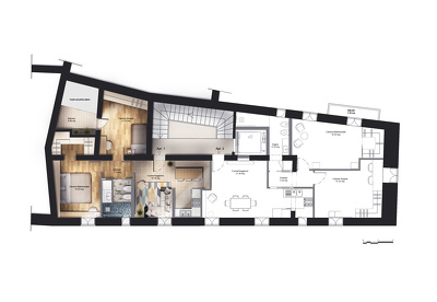 Draw coloured 2d floor plans or sections