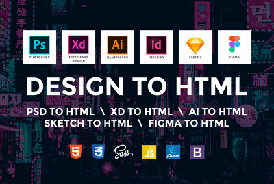 Convert your DESIGN to RESPONSIVE HTML code using BOOTSTRAP