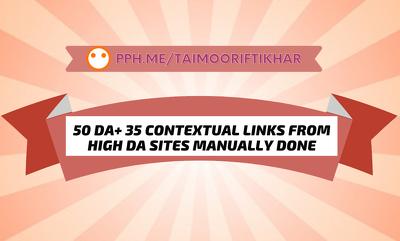 Provide 30 DA50+ MANUALLY Created Contextual Backlinks