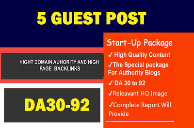 Publish 5 unique guest blog posts on HIGH DA 90+ websites